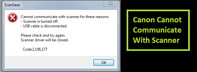 Canon Cannot Communicate With Scanner
